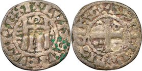 Louis VI (1108-1137) Denier ND VF20 NGC, Orleans mint, Rob-Unl., Dup-120var. 19mm. 1.00gm. +LVDOVICVS REX I, city gate, Ξ to left, Ω to right, O above...