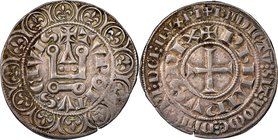 Philip III (1270-1285) Gros Tournois ND (before 1280) XF45 NGC, Dup-202A. 4.10gm. A scarcer emission than the later transitional issues, the fields re...