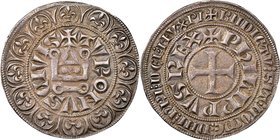 Philip IV (1285-1314) Gros Tournois a l'O rond ND (c. 1305?) AU50 NGC, Dup-213B. 4.11gm. Variety with tiny crown on the serif of the L in PHILIPPVS (L...