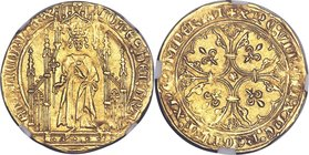 Jean II le Bon (1350-1364) gold Royal d'or ND MS63 NGC, Fr-278, Dup-293A. 3.53gm. IOh'ЄS : DЄI : GRA | FRAnCORV : RЄX, king standing facing holding sc...