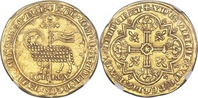 Jean II le Bon (1350-1364) gold Mouton d'Or ND AU55 NGC, Fr-280, Dup-291. 30mm. 4.64gm. +ΛGn • DЄI • TOLL • PCCA • mVNDI • mISЄRЄRЄ • nOB, nimbate Agn...