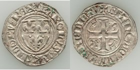 "Charles VI (1380-1422) Blanc dit ""Guénar"" ND UNC (deposits), Rouen mint?, Dup-377C1. 28mm. 3.03gm. With double pellet-within-annulet stops. 4th Emissi..."