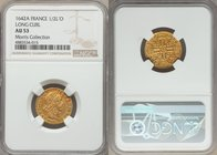Louis XIII gold 1/2 Louis d'Or 1642-A AU53 NGC, Paris mint, KM125. A beautiful specimen with boldly realized devices and orange-tinged surfaces. Signi...