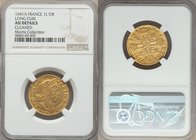 Louis XIII gold Louis d'Or 1641-A AU Details (Cleaned) NGC, Paris mint, KM104, Gad-58. Mèche longue (Long hair). Soundly struck, the noted cleaning fo...