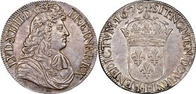 Louis XIV Ecu 1679-L XF45 NGC, Bayonne mint, KM226.8, Dav-3085. Appealing for the type, displaying lightly toned argent surfaces with remnants of mint...
