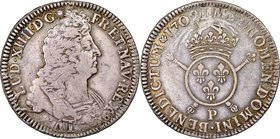 Louis XIV Ecu 1702-P VF30 NGC, Dijon mint, KM329.16. Generally well-struck, with a peripheral weakness toward the bottom of the obverse (and correspon...