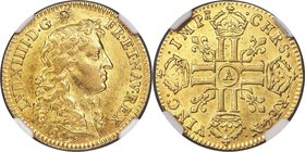 Louis XIV gold Louis d'Or 1669-A AU55 NGC, Paris mint, KM219.1, cf. Gad-247 (date unlisted). A fine nearly uncirculated example exhibiting an attracti...
