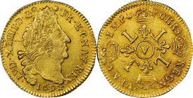 Louis XIV gold Louis d'Or 1694-V AU58 NGC, Troyes mint, KM302.19, Gad-252. Bright and lustrous, the surfaces lightly textured, as-struck, with a gentl...
