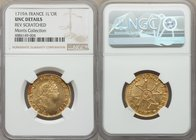 Louis XV gold Louis d'Or 1719-A UNC Details (Reverse Scratched) NGC, Paris mint, KM438.1, Gad-336. Supremely lustrous with a distinctive watery charac...