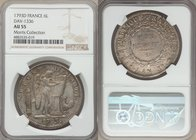 Republic 6 Livres 1793-A AU55 NGC, Paris mint, KM615.1, Dav-1336. A early First French Republic issue depicting the winged Genius inscribing the Frenc...
