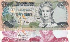 "$3 Dollars 1984 Bahamas 1974 Prefix /""A/' Banknote UNC"