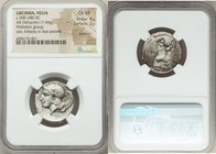 LUCANIA. Velia. Ca. 300-280 BC. AR didrachm (22mm, 7.44 gm, 3h). NGC Choice VF 4/5 - 2/5, brushed. Head of Athena right, wearing crested Attic helmet ...