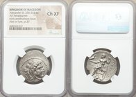 MACEDONIAN KINGDOM. Alexander III the Great (336-323 BC). AR tetradrachm (27mm, 1h). NGC Choice XF. Posthumous issue of Ake or Tyre, dated Regnal Year...