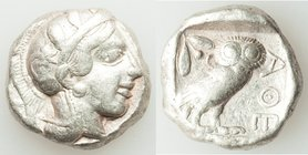 ATTICA. Athens. Ca. 454-404 BC. AR tetradrachm (23mm, 16.96 gm, 3h). VF. Early transitional issue. Head of Athena right, wearing crested Attic helmet ...