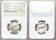ATTICA. Athens. Ca. 440-404 BC. AR tetradrachm (24mm, 17.19 gm, 2h). NGC Choice AU 5/5 - 4/5. Mid-mass coinage issue. Head of Athena right, wearing cr...