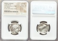 ATTICA. Athens. Ca. 440-404 BC. AR tetradrachm (23mm, 17.27 gm, 1h). NGC Choice AU 4/5 - 4/5. Mid-mass coinage issue. Head of Athena right, wearing cr...