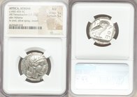 ATTICA. Athens. Ca. 440-404 BC. AR tetradrachm (24mm, 17.17 gm, 6h). NGC AU 5/5 - 5/5. Mid-mass coinage issue. Head of Athena right, wearing crested A...