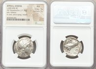 ATTICA. Athens. Ca. 440-404 BC. AR tetradrachm (24mm, 17.16 gm, 1h). NGC AU 5/5 - 5/5. Mid-mass coinage issue. Head of Athena right, wearing crested A...