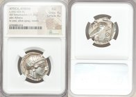 ATTICA. Athens. Ca. 440-404 BC. AR tetradrachm (25mm, 17.20 gm, 6h). NGC AU 4/5 - 4/5. Mid-mass coinage issue. Head of Athena right, wearing crested A...