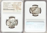 ATTICA. Athens. Ca. 440-404 BC. AR tetradrachm (26mm, 17.18 gm, 6h). NGC AU 4/5 - 4/5. Mid-mass coinage issue. Head of Athena right, wearing crested A...