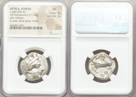 ATTICA. Athens. Ca. 440-404 BC. AR tetradrachm (24mm, 17.18 gm, 2h). NGC XF 4/5 - 3/5. Mid-mass coinage issue. Head of Athena right, wearing crested A...