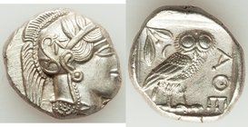 ATTICA. Athens. Ca. 440-404 BC. AR tetradrachm (24mm, 17.23 gm, 4h). MS. Mid-mass coinage issue. Head of Athena right, wearing crested Attic helmet or...