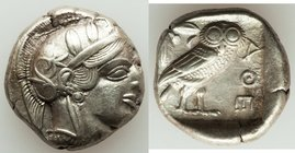 ATTICA. Athens. Ca. 440-404 BC. AR tetradrachm (23mm, 17.19 gm, 8h). XF. Mid-mass coinage issue. Head of Athena right, wearing crested Attic helmet or...