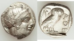 ATTICA. Athens. Ca. 440-404 BC. AR tetradrachm (22mm, 17.26 gm, 2h). XF, test cut. Mid-mass coinage issue. Head of Athena right, wearing crested Attic...