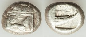 LYCIA. Phaselis. Ca. 530-500 BC. AR stater (19mm, 10.94 gm, 6h). About VF. Prow of galley left in the form of a forepart of a boar, three shields abov...