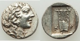 LYCIAN LEAGUE. Cragus. Ca. 1st century BC. AR hemidrachm (13mm, 1.78 gm, 12h). XF. Series 1. Laureate head of Apollo right; Λ-Y below / K-P, cithara (...