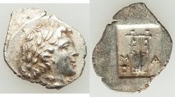 LYCIAN LEAGUE. Masikytes. Ca. 1st century BC. AR hemidrachm (16mm, 2.04 gm, 1h). Choice XF. Series 1. Laureate head of Apollo right; Λ-Y below / M-A, ...