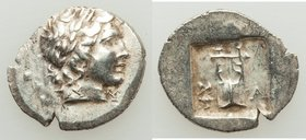 LYCIAN LEAGUE. Masikytes. Ca. 1st century BC. AR hemidrachm (16mm, 1.81 gm, 12h). XF. Series 1. Laureate head of Apollo right; Λ-Y below / M-A, cithar...