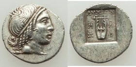 LYCIAN LEAGUE. Cragus. Ca. 32-30 BC. AR hemidrachm (15mm, 1.78 gm, 12h). XF Head of Apollo right, wearing taenia / ΛΥΚΙΩΝ, cithara; M-A / Σ-I across f...