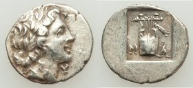 LYCIAN LEAGUE. Masicytes. Ca. 1st century BC. AR hemidrachm (15mm, 1.86 gm, 12h). XF. Series 4. Laureate head of Apollo right; Λ-Y below / M-A, cithar...