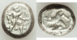 PAMPHYLIA. Aspendus. Ca. mid-5th century BC. AR stater (15mm, 10.92 gm). Choice Fine. Helmeted hoplite advancing right, spear forward in right hand, s...