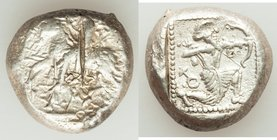 CILICIA. Tarsus. Ca. late 5th century BC. AR stater (20mm, 10.79 gm, 6h). Fine, test cut. Satrap on horseback riding left, reins in left hand / Archer...