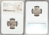 Man. Aquillius (ca. 109-108 BC). AR denarius (21mm, 5h). NGC XF. Rome. Radiate head of Sol right / Luna driving galloping biga right; MN•AQVIL below, ...