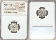 C. Annius T.f. T.n. and L. Fabius L.f. Hispaniensis (82-81 BC). AR denarius (19mm, 3.82 gm, 6h). NGC Choice AU 5/5 - 4/5. Uncertain mint in Spain. C•A...