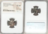 L. Cassius Longinus (ca. 60 BC). AR denarius (18mm, 7h).NGC Choice VF bankers mark. Rome. Draped and veiled bust of Vesta left; cylix behind / LONGIN•...