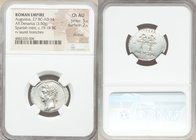Augustus (27 BC-AD 14). AR denarius (23mm, 3.50 gm, 6h). NGC Choice AU 5/5 / 2/5, brushed. Uncertain Spanish mint (Colonia Caesaraugusta?). Struck 19-...