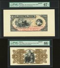 Bolivia Banco Nacional de Bolivia 20 Bolivianos 1883 Pick S208fp; S208bp Front And Back Proofs PMG Superb Gem Unc 67 EPQ; Gem Uncirculated 66 EPQ.   H...