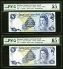 Cayman Islands Currency Board 1 Dollar 1971 (ND 1972); 1974 (ND 1981) Pick 1a; 5a Two Examples PMG About Uncirculated 55; Gem Uncirculated 65 EPQ. Pic...