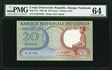 Congo, Democratic Republic Banque Nationale du Congo 20 Francs 15.7.1962 Pick 4a PMG Choice Uncirculated 64.   HID09801242017