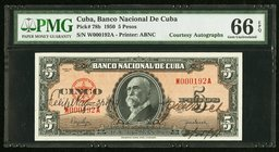 "Cuba Banco Nacional de Cuba 5 Pesos 1950 Pick 78b ""Courtesy Autographs"" PMG Gem Uncirculated 66 EPQ.   HID09801242017"