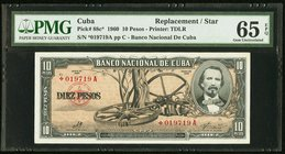 Cuba Banco Nacional de Cuba 10 Pesos 1960 Pick 88c* Replacement PMG Gem Uncirculated 65 EPQ.   HID09801242017