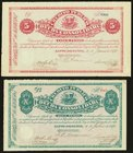 Dominican Republic Credito Publico 5; 10 Pesos 2.6.1875; 2.7.1875 S161; S162 Choice About Uncirculated.   HID09801242017