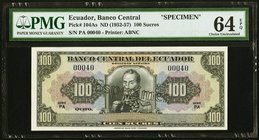 Ecuador Banco Central del Ecuador 100 Sucres ND (1952-57) Pick 104As Specimen PMG Choice Uncirculated 64 EPQ.   HID09801242017