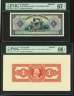 El Salvador Banco Occidental 1 Colon ND (1929) Pick S192fp; S192bp Front And Back Proofs PMG Superb Gem Unc 67 EPQ; Gem Uncirculated 66 EPQ.   HID0980...