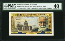 France Banque de France 500 Francs 6.2.1958 Pick 133b PMG Extremely Fine 40. Staple holes.  HID09801242017