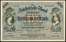 Germany Bank of Saxony 100 Mark 2.1.1911 Pick S952b Crisp Uncirculated.   HID09801242017